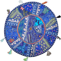 "22"" blue Patchwork Round Floor Pillow Cushion round embroidered Bohemian Patchwork floor cushion pouf Vintage Indian Foot Stool Bean Bag"