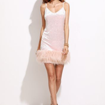 Pink Velvet And Fur Mini Dress