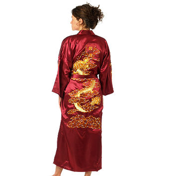 Bath Robe Women Chinese Style Satin Robe Embroidery Dragon Gown