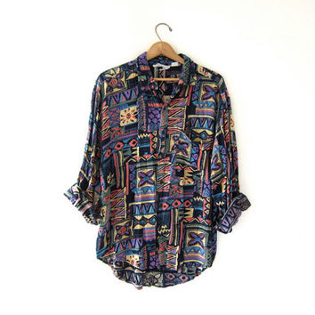 vintage button up shirt. abstract tribal print shirt. slouchy long sleeve top. geometric boyfriend shirt. loose fit rayon shirt.