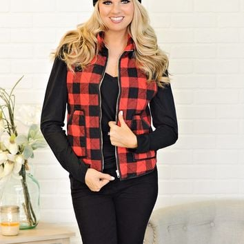 * Tracey Plaid Puffer Vest : Black/Red