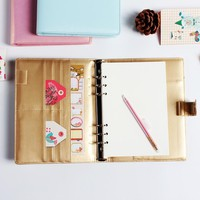 Macaron cute office school leather spiral notebook stationery,6 holes binder person agenda organizer/daily weekly planner A5 A6