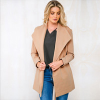 Long Sleeve Lapel Woolen Coat