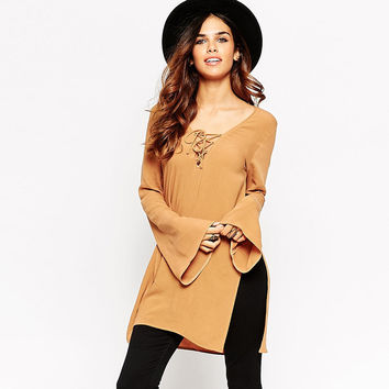 Yellow Deep V Lace-Up Trumpet Sleeves Top With Side Slits