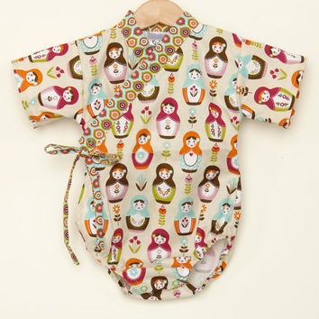 Baby Kimono One piece in RUSSIAN DOLLS sizes 0 through 24 months - baby outfit baby wrap