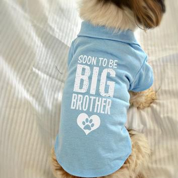 Small Dog Polo Shirt. Soon to Be Big Brother Polo Dog Shirt. Pet Clothes. New Baby Gif