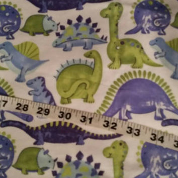 Flannel fabric with dinosaurs blue green cotton print quilt sewing material  sew crafting project BTY 1yd by the yard