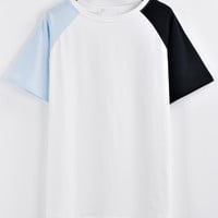 Raglan Sleeve Color-block T-shirt