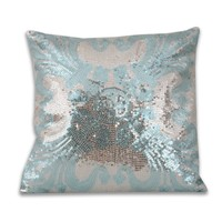 Ludo Sequin Pillow - Blue Silver