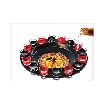 Adult Drinking Casino 16 Glasses Party Club Game Spin N Shot Wheel Roulette Set