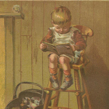 The Little Student Original Color Print Litho Bookplate from 1882 Chatterbox Children's Book