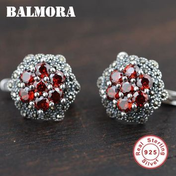 BALMORA 100% Real 925 Sterling Silver Jewelry Earrings Elegant & Romantic Earrings Red Garnet Stone for Women Bijoux SLS30175