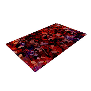 "Ebi Emporium ""Amongst the Flowers - Summer Nights"" Red Black Woven Area Rug"