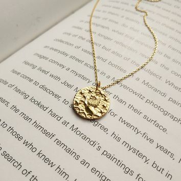 925 Sterling Silver Gold Color Lion Sun Star Fashion Pendant Necklace For Women