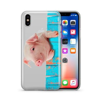 Pig on a Fence - Clear TPU Case Cover