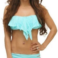 Sexitu 2 Peice Aqua Marine Bandeau Ruffle Top Scoop Botton Bikini (Medium)