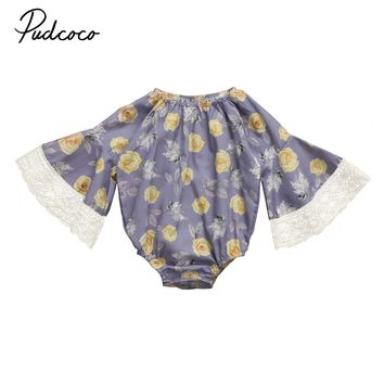 Pudcoco Newborn Kids Baby Girl Lace Flare Sleeve Floral Romper Jumpsuit Clothes Fall Winter Cotton One-Piece Outfit