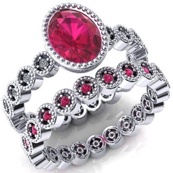 Borea Oval Ruby Full Bezel Milgrain Diamond Accent Full Eternity Ring
