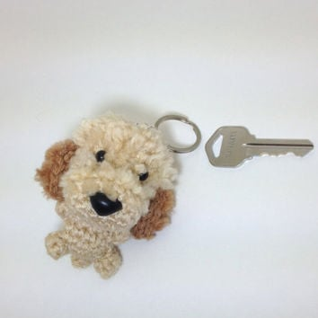 Labradoodle Dog Keychain Crochet Goldendoodle Charm