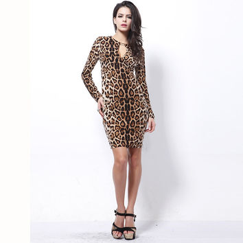 Sexy Ladies Leopard Low V Neck Long Sleeve Formal Cocktail Party Midi Dress 2016 Women Bodycon Leopard Dresses