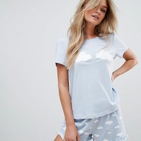 Vero Moda Cloud Print Bed Tee at asos.com