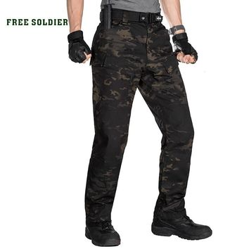 FREE SOLDIER outdoor sports tactical military camouflage pants man trousers with multi pocket for camping hiking