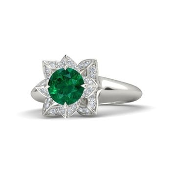 Round Emerald 18K White Gold Ring with Diamond