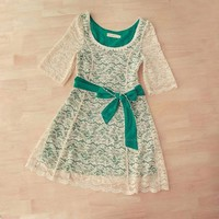 Stylish Scoop Neck 1/2 Sleeve Belt Embellished Lace Dress for Women