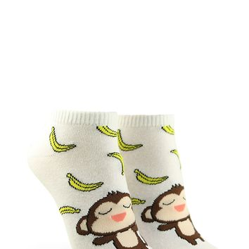 Monkey Graphic Ankle Socks