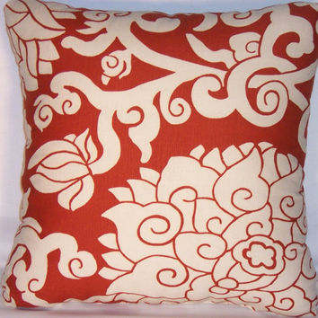 "Rust Lotus Floral Throw Pillow Thomas Paul Blossom Cinnabar 17"" Square Ready to Ship Insert Included Bold Graphic Oriental Flowers"