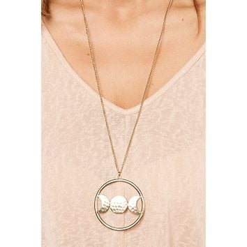 Phases Of The Moon Pendant Necklace (Gold)