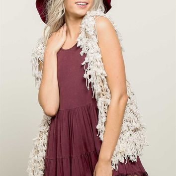 All Beige Duster Fringed Vest
