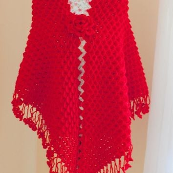 "SALE 30""X79"" Red Shawl, Ready to ship, Crochet Crocodile Stitch Shawl/ Crochet Wrap, Wedding Wrap, Cover Up / Bridal Wrap Bridal Accessories"