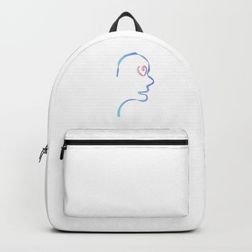 ribbon and face Backpacks by oldking