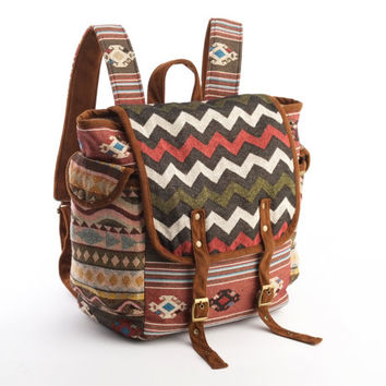 Easy-going Scout Backpack/ Multicolored Chevrons Woven Stripes Cotton, Southwestern Textiles/ Holiday Backpack, Tribal Backpack