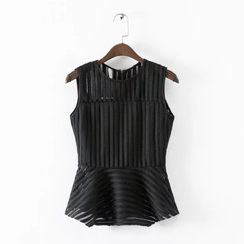 Stylish Round-neck Sleeveless Hollow Out Ruffle Women's Fashion Tops T-shirts [5013416004]
