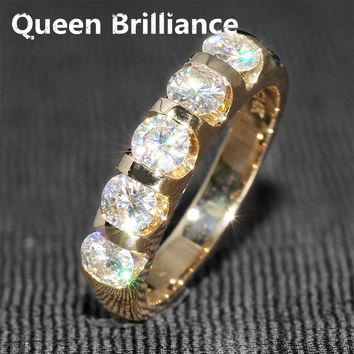 Queen Brilliance 1.25 Ct F Color Wedding Band Half Eternity Band Matching Moissanite Diamond Band Genuine 14K 585 Yellow Gold