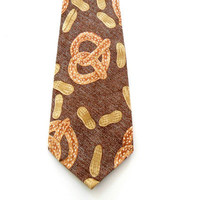Mens Necktie with Unique Peanuts & Pretzels Print / by justcravats