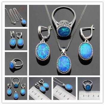 Vintage Oval 925 Silver Jewelry Sets Australia Blue Opal Necklace Pendant Drop Earrings Ring For Women Wedding Gift