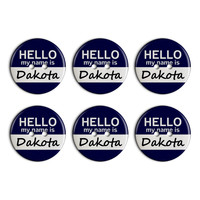 Dakota Hello My Name Is Plastic Resin Button Set of 6