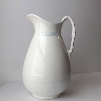 Large Antique White Ironstone Pitcher, John Moses & Co, Late1800's Glasgow Pottery of Trenton New Jersey