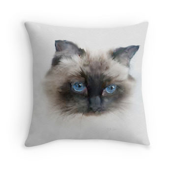'Black Cat with Blue Eyes' Throw Pillow by Bamalam Art and Photography