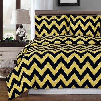 Chevron Gold Duvet Cover 100% Combed cotton