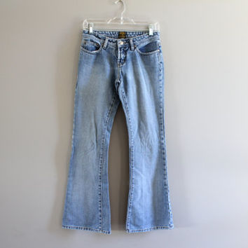 Vintage LEE Waist 26 Lee Jeans Low Waist Zip Fly Boot Cut Blue Washed Jeans Women Lee Jeans 26X30 #P037A