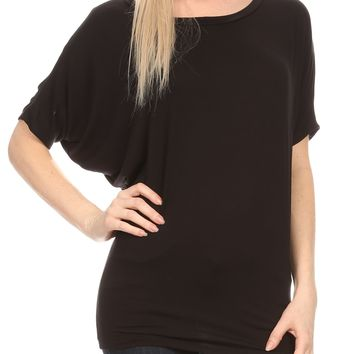 Sakkas Calloway Long Tall Thin Batwing Back Seam Blouse Shirt Tee Top With Drape