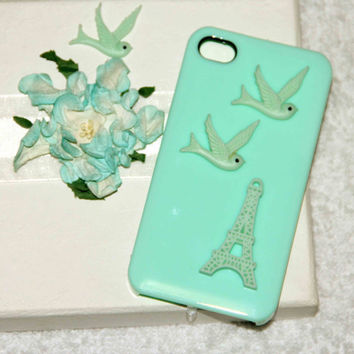 mint green hunger games mocking bird Eiffel Tower iphone 4 4s 5 case high quality  scratch resistant  fashion gifts  trends summer fashion