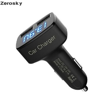 Zerosky 4 in 1 Car Charger Dual USB Voltmeter Thermometer Digital Display Charging  3.1A Fast charging phone charger