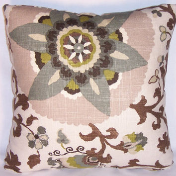 """Grey Brown Tan Suzani Throw Pillow Braemore Silsila  Rhinestone 17"""" Square Linen Blend Floral Ready to Ship Insert Included"""