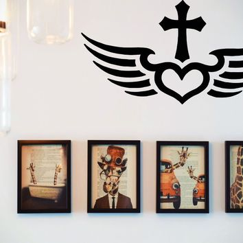 Bible Cross with Heart Wings  Vinyl Wall Decal - Removable (Indoor)