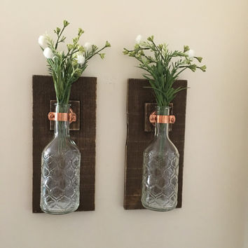 Mason Jar Wall Sconce (SET OF TWO) Wall Lanterns Rustic Wall Decor Glass Jar Hanging Vase Lantern Candle Wall Sconces,Rustic Wooden Sconces